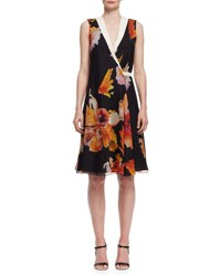Lanvin Floral Print Sleeveless Wrap Dress Orange Black