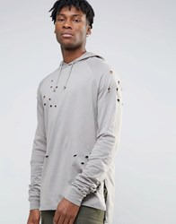 Asos Oversized Long Sleeve T Shirt With Hood And Stacked Sleeves Grey