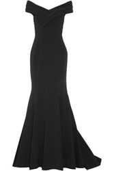 Mikael Aghal Off The Shoulder Stretch Crepe Gown Black