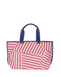 Poverty Flats By Rian Modern Faux Leather Trim Striped Tote Bag Magenta Navy