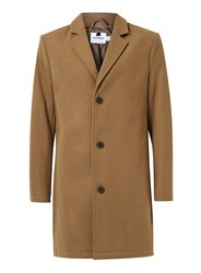 Topman Camel Wool Rich Overcoat Brown