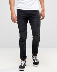 Blend Of America Cirrus Skinny Biker Jeans In Washed Black Black