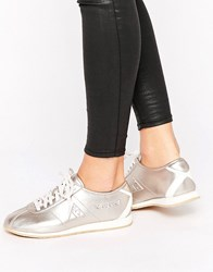 Le Coq Sportif Rose Gold Metallic Wendon Trainers Grey