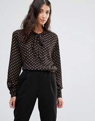 B.Young Pussy Bow Blouse With Gold Spots Black