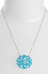 Women's Moon And Lola Medium Oval Personalized Monogram Pendant Necklace Turquoise Gold Nordstrom Exclusive