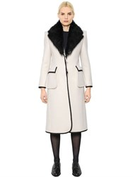 Thom Browne Boiled Wool Coat With Fur Collar