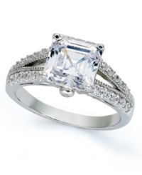 B. Brilliant Sterling Silver Ring Cubic Zirconia Princess Cut Engagement Ring 4 Ct. T.W.