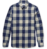 Hentsch Man Buffalo Checked Cotton And Linen Blend Shirt Blue