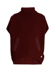 Moncler Roll Neck Logo Applique Wool Poncho Burgundy