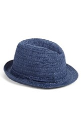 Women's Caslon Open Weave Straw Fedora Blue Navy Combo