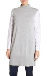 Vince Camuto Women's Two By Poplin And Sweater Knit Turtleneck Tunic