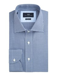 Paul Costelloe Addle Chevron Check Cotton Shirt Navy