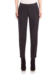Akris Punto Wool Fold Over Pleat Pants Black