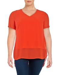 Vince Camuto Plus Hi Lo Short Sleeve Chiffon Top Red