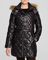 Marc New York Kava Faux Fur Trim Quilted Puffer Coat Black