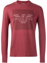 Armani Jeans Logo Print Longsleeved T Shirt Red
