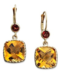 Macy's 14K Gold Earrings Citrine 8 1 5 Ct. T.W. And Garnet 3 4 Ct. T.W. Cushion Cut Drop