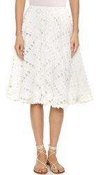 Line And Dot Geo Lace Skirt White