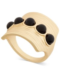 Inc International Concepts Gold Tone Black Stone Matte Statement Ring Only At Macy's