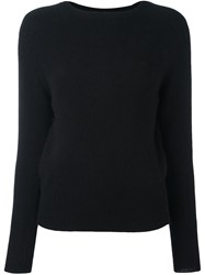 Zanone Ribbed Cuffs Pullover Black
