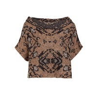 Crea Concept Intarsia Abstract Print Crop Jumper Taupe Black