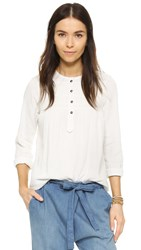 Current Elliott The Retreat Henley Shirt Dirty White With Embroidery
