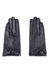 Topshop Frill Gloves Navy Blue