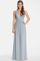Women's Jim Hjelm Occasions Draped V Neck Chiffon Gown