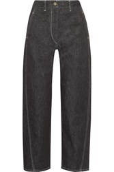 Christophe Lemaire Cropped High Rise Wide Leg Jeans Dark Denim