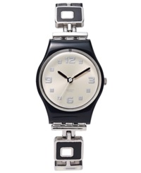 Swatch Watch Women's Swiss Chessboard Black And White Enamel And Stainless Steel Bracelet 25Mm Lb160g