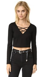 L'agence Ava Cropped Lace Up Top Black