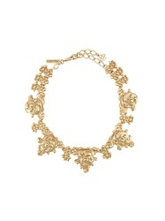 Oscar De La Renta Floral Necklace Metallic