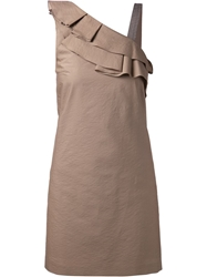 Brunello Cucinelli Ruffle Detail Shift Dress Brown