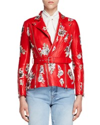 Alexander Mcqueen Floral Embroidered Leather Jacket Red