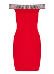 Quiz Red Jersey Bardot Embellished Bodycon Dress Red