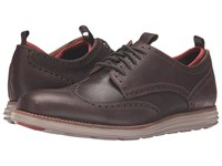 Cole Haan Original Grand Neoprene Lined Wing Oxford Chestnut Leather Dark Roast Knit Cobblestone Men's Lace Up Casual Shoes Brown