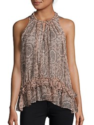 Elizabeth And James Paisley Print Sleeveless Silk Top Cherry Blossom Black Paisley