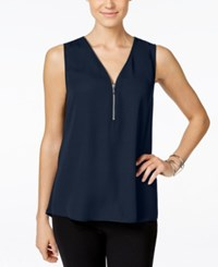 Inc International Concepts Sleeveless Zippered Knit Back Top Only At Macy's Deep Twilight