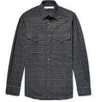 Private White V.C. Slim Fit Checked Brushed Cotton Flannel Shirt Dark Green