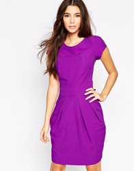 Wolf And Whistle Pleated Tulip Dress Purple