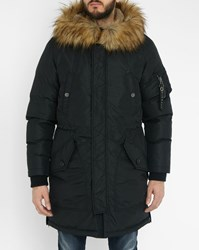 Diesel Black W Asily Fur Lined Hood Long Parka