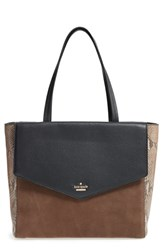 Kate Spade New York Spencer Court Archie Leather Tote Black Black Candied Nut Snake