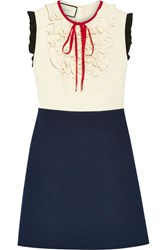 Gucci Ruffle Trimmed Silk And Wool Blend Mini Dress Navy