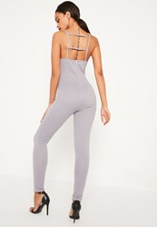 Missguided Grey Ribbed Strappy Back Detail Jumpsuit