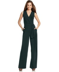 Ny Collection Petite Surplice Belted Wide Leg Jumpsuit Serene Forest