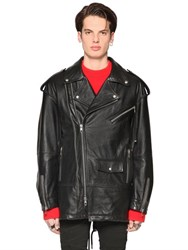 Diesel Black Gold Oversized Grained Leather Biker Jacket