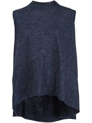 Co Sleeveless Flared T Shirt Blue