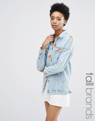 Noisy May Tall Watermelon Embroidered Denim Jacket Light Wash Blue