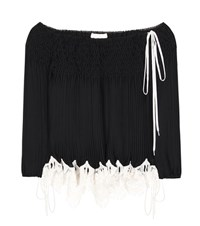 Chloe Off The Shoulder Pleated Blouse Black