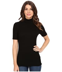 Three Dots Cleo Short Sleeve Turtleneck Black Women's Clothing